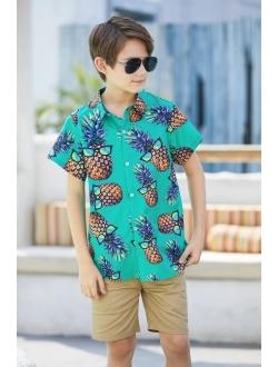 Ahegao Little & Big Boy's Button Down Hawaiian Shirts Short Sleeve Cool Cartoon Print Aloha Dress Tops T-Shirt for Kids 7-14T