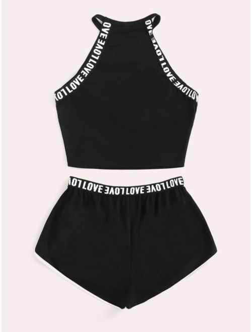 Shein Lettering Detail Tape Top & Dolphin Shorts Set