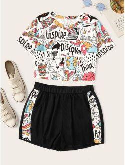 Cartoon Print Top With Shorts
