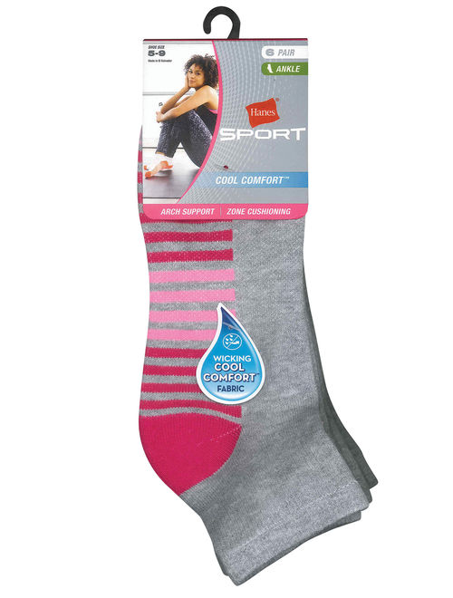 Details about  /Hanes Women/'s Cool Comfort Sport Ankle Socks 6 Pack
