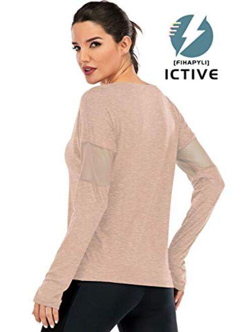 Fihapyli Women's Plain Long Sleeve T Shirt Workout Top Loose Yoga Tops Gym Sports T-Shirt with Thumb Hole