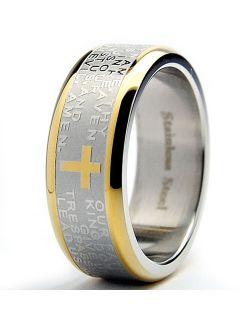 Men's Lord's Prayer Ring Christian Cross Stainless Steel 8MM Goldtone Sizes 7-12