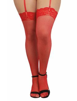 Dreamgirl Women's Plus-Size Lace Top Fishnet Thigh-High Stockings