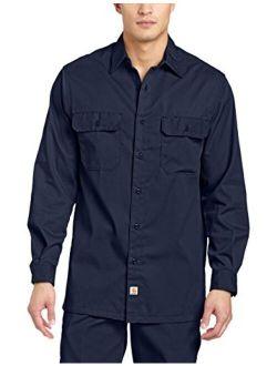 Men's Twill Long Sleeve Work Shirt Button Front S224