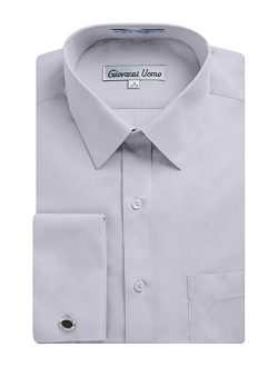 Gentlemens Collection Men's Regular & Slim Fit French Cuff Solid Dress Shirt - Colors (Cufflink Included)