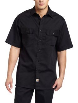 Men's Big And Tall Twill Short Sleeve Work Shirt Button Front