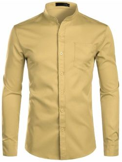 Men's Slim Fit Long Sleeve Casual Button Down No Collar Dress Shirts With Pocket