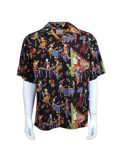 David Carey Day of The Dead Camp Halloween Shirt - Black - Button Up Collared Short Sleeve Mechanic Camp/Club Shirt