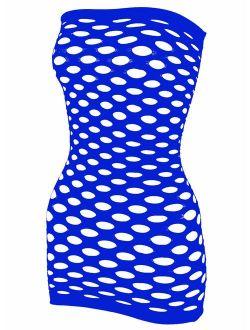 LemonGirl Women's Mesh Lingerie Fishnet Babydoll Mini Dress Free Size