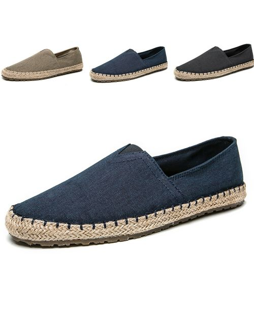 CASMAG Men's Fashion Casual Cloth Shoes Canvas Slip-on Loafers Espadrille Leisure Walking Sneakers Moccasins Boat Shoes