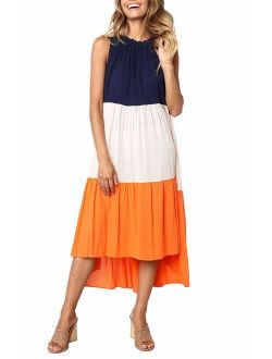 Women's Summer Sleeveless Color Block Patchwork Pleated Elastic Crew Neck Loose Midi Dress