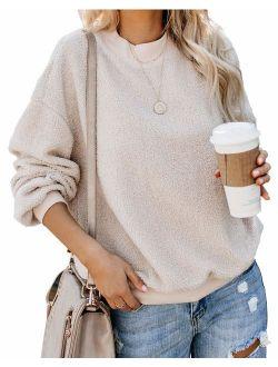 Women's Casual Long Sleeve Round Neck Solid Color Sherpa Pullover Sweatshirt Fuzzy Fleece Coat Tops