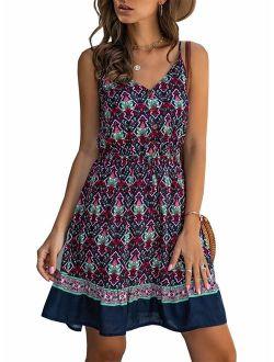 Women's Floral Sexy V Neck Spaghetti Strap Backless Button Down Sundress Summer Mini Short Dress With Belt