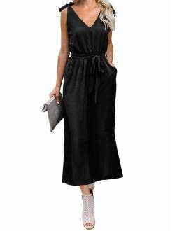 PRETTYGADEN Women's Fashion V-Neck Sleeveless Dresses Strap Tie Waist Loose Midi Dress with Pockets