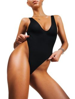 sofsy One Piece Swimsuit for Women Bathing Suit High Cut Low Back Sexy Swimwear Retro Backless 80s 90s