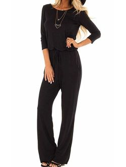 Women's Casual Crew Neck 3/4 Sleeve Drawstring Waist Long Wide Leg Pants Loose Jumpsuit Romper With Pockets