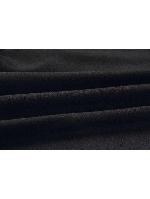 PRETTYGARDEN Women's Casual Crew Neck 3/4 Sleeve Drawstring Waist Long Wide Leg Pants Loose Jumpsuit Romper with Pockets