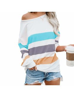Women's Casual Striped Color-block Long Sleeve Tops Sexy Off-shoulder Tunics Blouses Pullover Sweatshirt