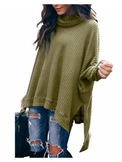 Women's Casual Cowl Neck Solid Long Batwing Sleeve Pullover Tops Waffle Knit High Low Oversized Tunic Sweatshirt