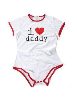 Adult Baby Onesie Diaper Lover (abdl) Button Crotch Romper Onesie Pajamas - I Love Daddy Pattern
