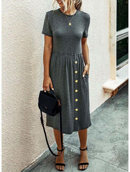 PRETTYGARDEN Women's Casual Short Sleeve Dresses Crew Neck Button Down Loose T Shirt Dress with Pockets