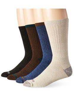 Men's 4 Pack Split Rib Moisture Control Crew Socks