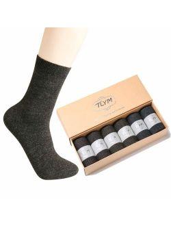 NinetoFiveLife Pack of 6 Crew Socks Mens Dress Wool Socks Business Socks for Men