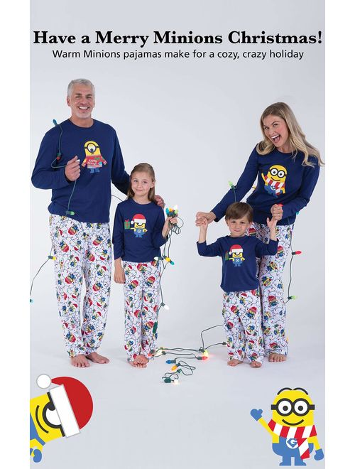 PajamaGram Holiday Pajamas Family Fleece - Minion Pajamas, Blue