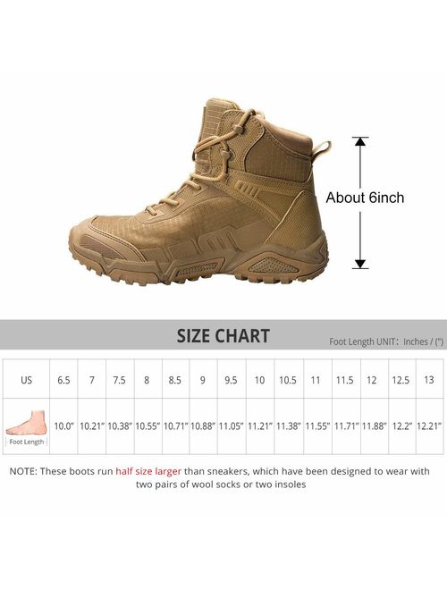 FREE SOLDIER Men's Tactical Boots 6 Inches Lightweight Combat Boots Durable Hiking Boots Military Desert Boots