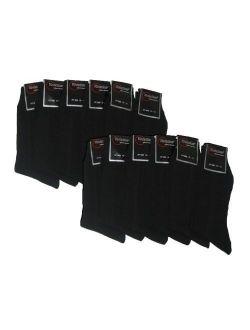 Knocker Mens Plain Dress Socks Black 12 Pairs (Many Colors Available)