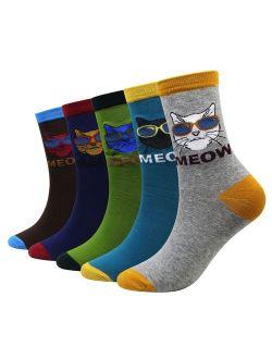 Wish Island Men's 5 Packs Fun Crazy Animal Cotton Casual Crew Socks