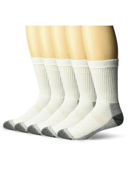 Men's Cotton Work Gear Crew Socks   Cushioned, Wicking, Durable   5 Pack