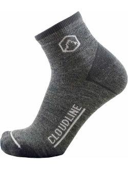 CloudLine Merino Wool 1/4 Top Running & Athletic Socks- Light Cushion- Mfr in US