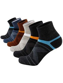 Aserlin Mens Athletic Ankle Socks Performance Cotton Cushioned Colorful Socks for Sports, Running, Training & Hiking 6-Pack