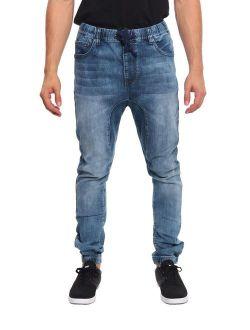 Victorious Mens Drop Crotch Joggers Denim Jean Pants