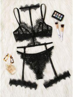 Eyelash Floral Lace Garter Lingerie Set With Choker