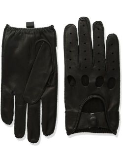 Men's Smooth Leather Driving Glove With Covered Snap