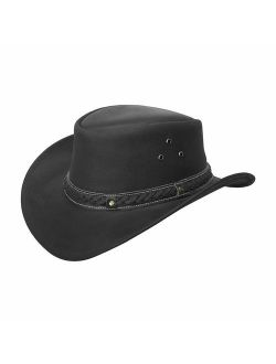 BRANDSLOCK Mens Leather Cowboy Hat Down Under Outback Wide Brim Black/Brown