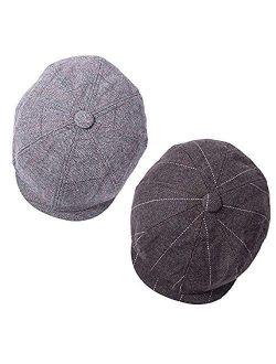 1-2 Pack Newsboy Hats for Men Classic 8 Panel Wool Blend Applejack Gatsby Peaky Blinders Ivy Hat
