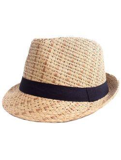 Livingston Unisex Summer Straw Structured Fedora Hat w/Cloth Band