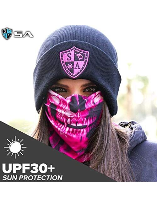 S A Store S A - UV Face Shields 5 Pack - Multipurpose Neck Gaiter, Balaclava, Elastic Face Mask for Men and Women
