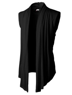 H2H Men's Casual Regular Fit Cardigan Shawl Collar Long Line with No Button
