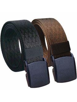 Hoanan Mens Nylon Belt Tactical 2 Pack 28-56 Waist Casual Work No Metal Web Belt