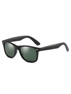Vintage Polarized Sunglasses for Men Retro Women Square Sun Shades Driving Glasses UV400 Protection with Case