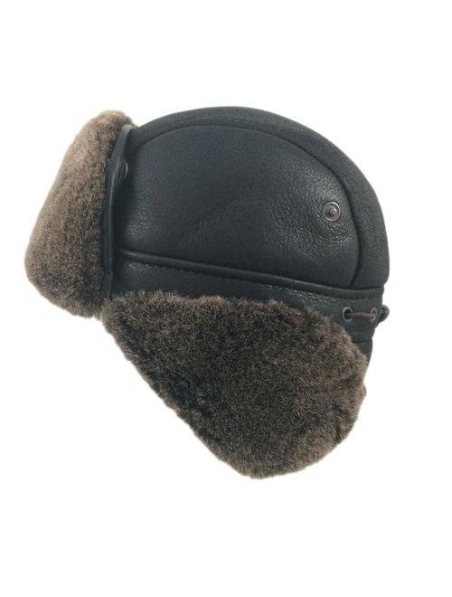 Zavelio Unisex Shearling Sheepskin Aviator Russian Ushanka with Snap Hat