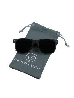 ShadyVEU Super Dark Lens Round Sunglasses UV Protection Spring Hinge Exclusive Retro 80's Migraine Shades