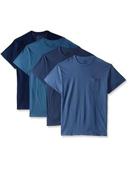 Cotton Solid Pocket Crew Neck T-shirt (pack Of 4)