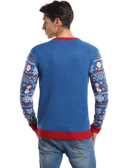 daisysboutique Men's Christmas Holiday Snowman Themed Ugly Sweater Cute Pullover