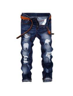 WEEN CHARM Mens Denim Distressed Slim Fit Ripped Straight Moto Biker Jeans