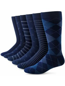 Yousu Mens Dress Socks Business Casual Solid Pattern Cotton Crew Sock 6 Pairs